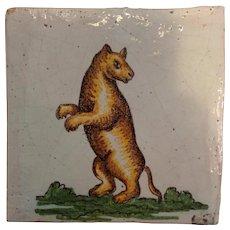 Bear Tile Antique Italian 19th c
