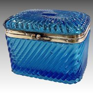 Russian Cobalt Molded Glass Casket