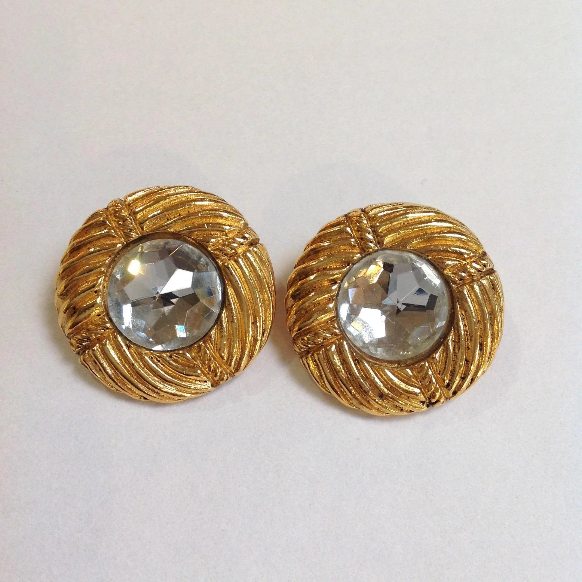 Chanel Rhinestone Gold Tone Earrings Click To Expand