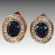 Lanvin Blue and White Rhinestone Earrings
