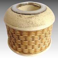 Antique Match Strike Pottery Basketweave English