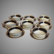 Lenox Silver Overlay Creme Soups Ivory and Black Group of 8