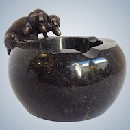 Vienna Bronze Puppies Black Marble Ashtray