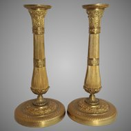 Pair Gilt Bronze French Candlesticks