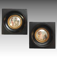 Pair Gilles Legrand Miniature Paintings 19th C.
