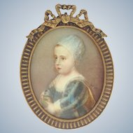 Miniature Child's Portrait Brass Frame