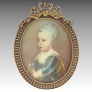 Miniature Child's Portrait Brass Frame