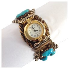 B. Touchine Turquoise Bracelet Watch Gilt Sterling Navajo
