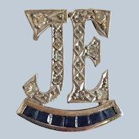 Diamond And Sapphire Initials Slide Pendant 'JE'