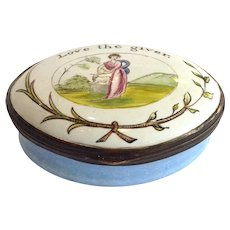 Antique Enamel Patch Box 'Love the Giver' 18th century