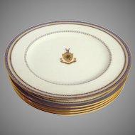 6 Royal Doulton Morgan Coat of Arms Dessert Plates