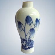 Bow Vase English Porcelain Blue Tree 18th C.