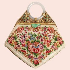 Jade Silver Gilt White Floral Petite Point Purse China 1930's
