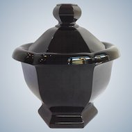 Baccarat Covered Dish Black Glass