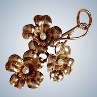 Flower Seed Pearl Pendant 10k Gold