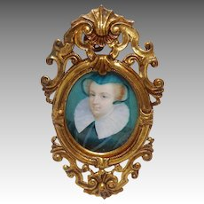 Miniature Portrait of Woman Elizabethan Costume