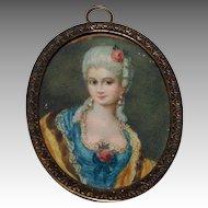 Miniature Oval Portrait of a Court Lady Antique