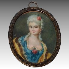 Miniature Oval Portrait of a Court Lady Antique