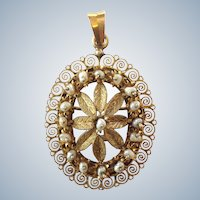 Filagree Pearl and Gold Pendant or Pin 10k