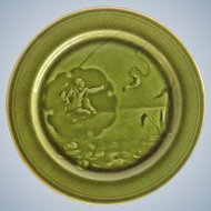 Majolica Green Glazed Choisy-le-Roi Fisherman Plate