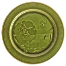 Majolica Green Glazed Choisy-le-Roi Fisherman Plate
