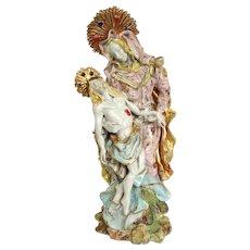 """Italian Faience Pieta 13"""" Statue Mid Century"""