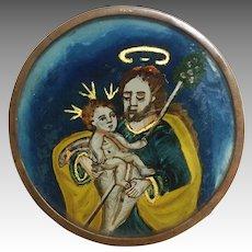 Eglomise Religious Medallion Spanish Colonial