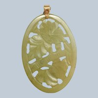 """Chinese Carved Jade Openwork 3"""" Floral Pendant"""