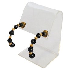 Vintage Onyx Gold Bead Half Hoop Earrings 14k