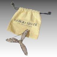 Giorgio Armani Rhinestone Flower Brooch