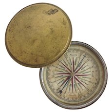 Pocket  Compass With Lid 19th Century