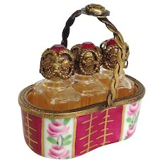 Limoges Three Perfume Trinket Basket by Chamart