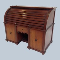 Roll Top Desk Tea Caddy Mahogany Miniature Circa 1890