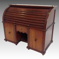 Roll Top Desk Tea Caddy Mahogany Miniature Circa 1890