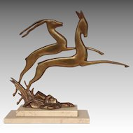 "Art Deco Leaping Gazelle 13"" Sculpture Marble Base"