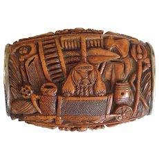 Snuff Box Musician Silver Lined 1820's
