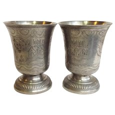 French Pewter Hunting Cups Etain