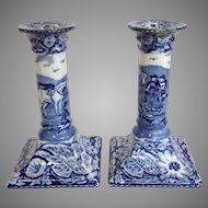 Pair Of Pratt's Native Scenery Porcelain Candlesticks