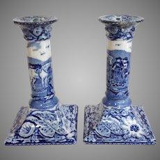 Pair Of Pratt's Native Scenery Porcelain Candlesticks