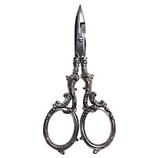 Gorham Sterling Buttonhole Scissors Antique Chrome Blades