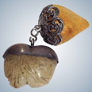 Sterling Strawberry Pin Cushion and Heart Waxer 19th c.