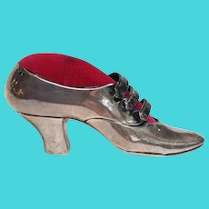 Ladies Shoe Pin Cushion Sterling Mauser c. 1880-90