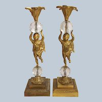 Gilt Bronze Cherub Candle Holders Circa 1890's