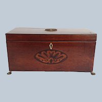 English Mahogany Footed Tea Caddy with Inlay 19th c.