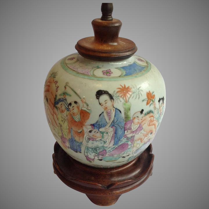 Chinese Ginger Jar Lamp Mother And Children 19th C Antiques Of