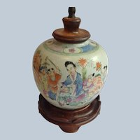 Chinese Ginger Jar Lamp Mother and Children 19th c.