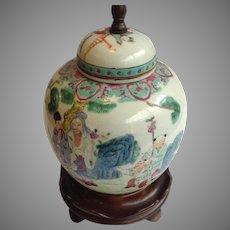 Antique Chinese Ginger Jar Lamp 19th Century Four Men