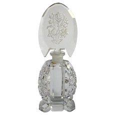 Czech Perfume Bottle With Rose Stopper Signed Clear Glass