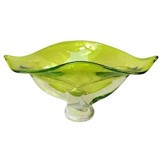 "Wave Bowl Art Glass Green 14"" Signed 2008"