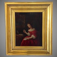 Oil Painting of Young Lady Reading a Love Letter France 19th Century